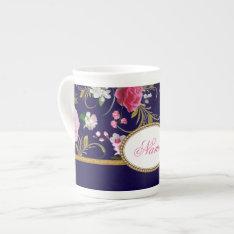 Monogram Pink Flowers Tea Cup at Zazzle