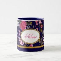 Monogram Pink Flowers Two-Tone Coffee Mug