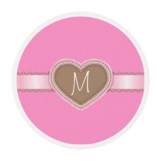 Monogram Pink  Frosting Cupcake Topper Bling LOOK Edible Frosting Rounds