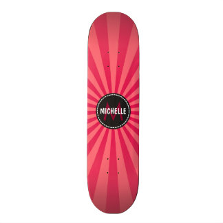 Monogram Pink Funky Sun Rays Pattern Skateboard