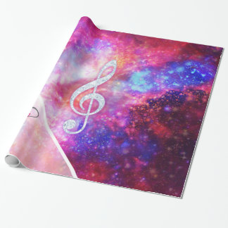 Monogram Pink Galaxy Nebula Glitter Music Note Wrapping Paper