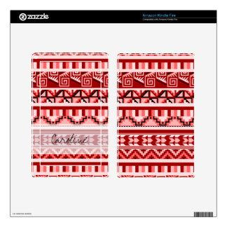Monogram Pink Geometric Aztec Tribal Print Pattern Kindle Fire Skins