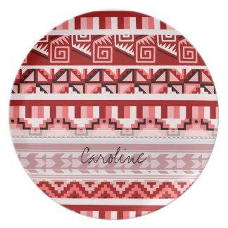 Monogram Pink Geometric Aztec Tribal Print Pattern Melamine Plate