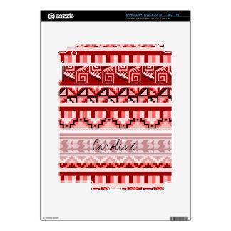 Monogram Pink Geometric Aztec Tribal Print Pattern Skin For iPad 3