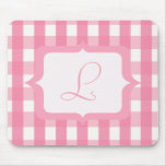 Monogram Pink Gingham Mouse Pad
