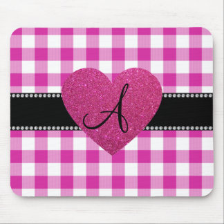 MONOGRAM Pink gingham pattern heart Mouse Pad