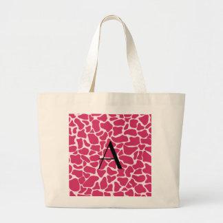 Monogram pink giraffe print tote bags