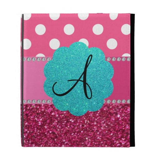 Monogram pink glitter and polka dots iPad cases