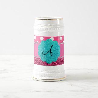 Monogram pink glitter and polka dots mug