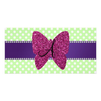 Monogram pink glitter butterfly polka dots photo card