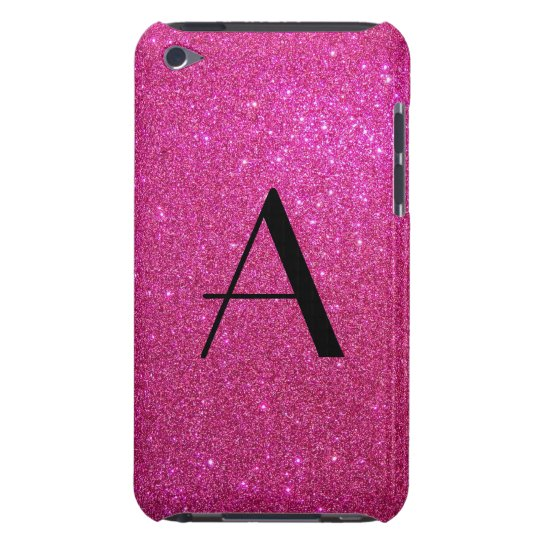 Monogram pink glitter Case-Mate iPod touch case