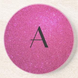 Monogram pink glitter coasters