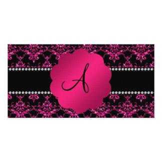 Monogram pink glitter damask photo card