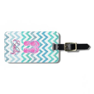 Beach Themed Monogram Pink Glitter Flip Flops Teal Aqua Chevron Luggage Tag
