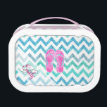 """Monogram Pink Glitter Flip Flops Teal Aqua Chevron Lunch Box<br><div class=""""desc"""">Monogram Pink Glitter Flip Flops Teal Aqua Chevron. celebrate summer with this girly, bright and fun glitter monogrammed flip flops design featuring a pair of beach flip flops in pink and teal glitter on a bright teal blue and aqua glitter modern chevron zigzag pattern on a white background. Perfect gift...</div>"""