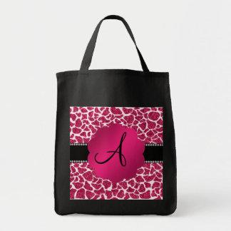 Monogram pink glitter giraffe print bag