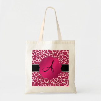 Monogram pink glitter giraffe print tote bag