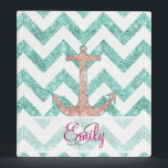 """Monogram Pink Glitter Nautical Anchor Teal Chevron Binder<br><div class=""""desc"""">Monogram Pink Glitter Nautical Anchor Teal Chevron. A modern version of the vintage and retro sailor anchor featuring a girly coral pink glitter nautical anchor monogram design with a girly teal aqua zigzags chevron pattern on a white background. Perfect gift for her, the marine lover and the girly girl Please...</div>"""