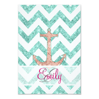 Monogram Pink Glitter Nautical Anchor Teal Chevron Personalized Announcement
