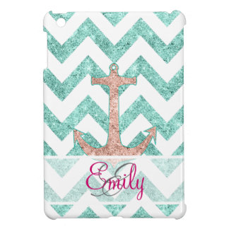 Monogram Pink Glitter Nautical Anchor Teal Chevron iPad Mini Cases