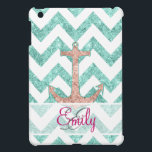 """Monogram Pink Glitter Nautical Anchor Teal Chevron iPad Mini Cover<br><div class=""""desc"""">Monogram Pink Glitter Nautical Anchor Teal Chevron. A modern version of the vintage and retro sailor anchor featuring a girly coral pink glitter nautical anchor monogram design with a girly teal aqua zigzags chevron pattern on a white background. Perfect gift for her, the marine lover and the girly girl Please...</div>"""