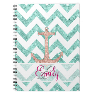 Monogram Pink Glitter Nautical Anchor Teal Chevron Notebooks
