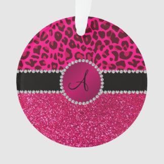 Monogram pink glitter neon hot pink leopard