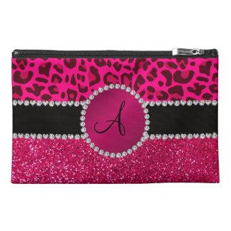 Monogram pink glitter neon hot pink leopard travel accessories bag