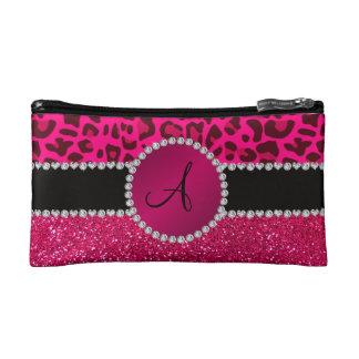 Monogram pink glitter neon hot pink leopard cosmetic bag