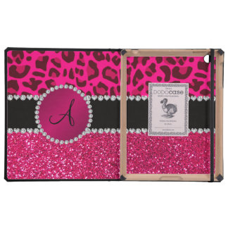 Monogram pink glitter neon hot pink leopard iPad covers