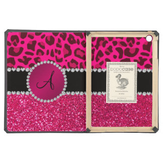 Monogram pink glitter neon hot pink leopard iPad air cases
