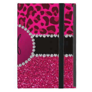 Monogram pink glitter neon hot pink leopard cover for iPad mini