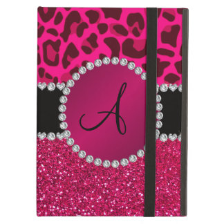 Monogram pink glitter neon hot pink leopard iPad air cover