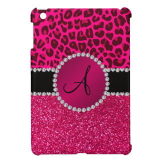 Monogram pink glitter neon hot pink leopard cover for the iPad mini