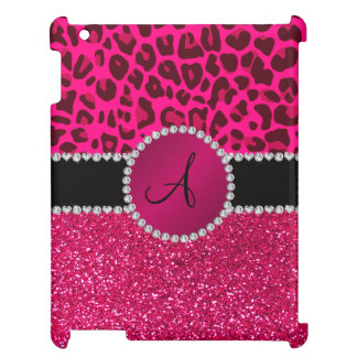Monogram pink glitter neon hot pink leopard iPad cover