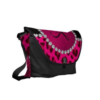 Monogram pink glitter neon hot pink leopard courier bag