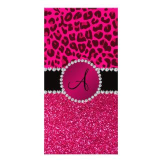 Monogram pink glitter neon hot pink leopard photo card