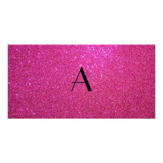 Monogram pink glitter photo card