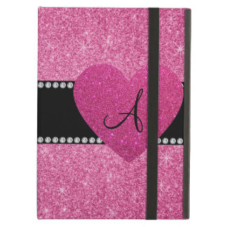 Monogram pink glitter pink heart iPad folio case