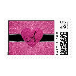 Monogram pink glitter pink heart postage stamps