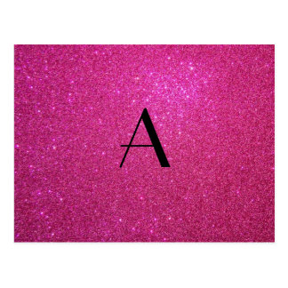 Monogram pink glitter post card