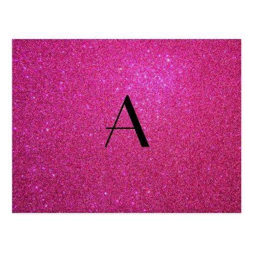 Monogram pink glitter postcard