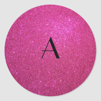 Monogram pink glitter sticker