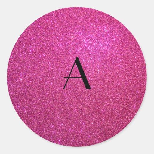 Monogram pink glitter sticker
