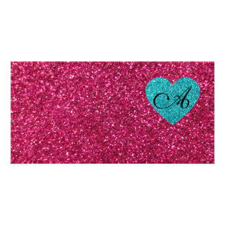 Monogram pink glitter turquoise heart photo cards