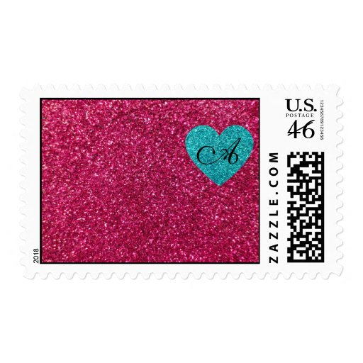 Monogram pink glitter turquoise heart postage