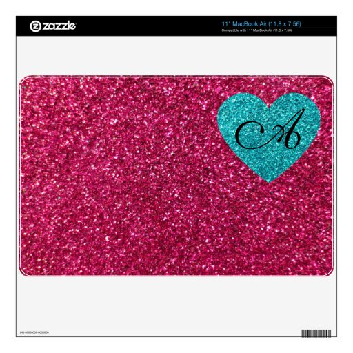 "Monogram pink glitter turquoise heart 11"" MacBook air decal"