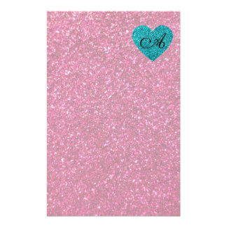 Monogram pink glitter turquoise heart stationery