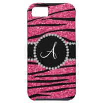Monogram pink glitter zebra stripes circle iPhone 5 cover