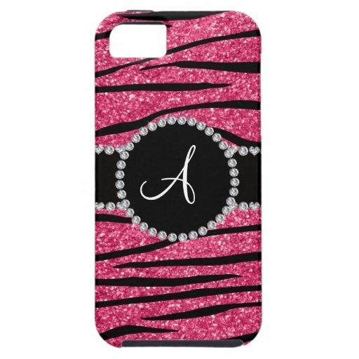 Monogram pink glitter zebra stripes circle iPhone 5/5S case